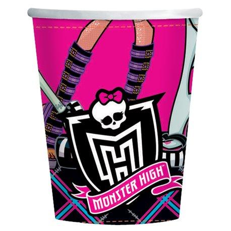 Pahare carton Monster High pentru petrecere - 250ml, Amscan RM552247, Set 8 buc