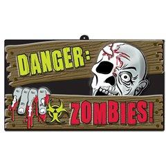 "Decor perete ""Danger: Zombies"" pentru petreceri - 44x25cm, Amscan 190389"
