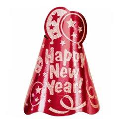 Glitter Foil Cone Hat - Red, Amscan 250163-40