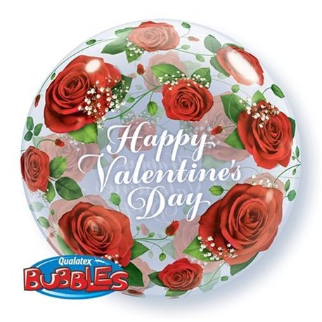 "Balon Bubble 22""/56cm Qualatex, Happy Valentine's Day, 27513"