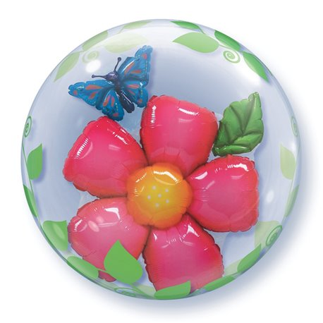 "Balon Double Bubble 24""/61cm Qualatex, Leaves Flower, 68806"