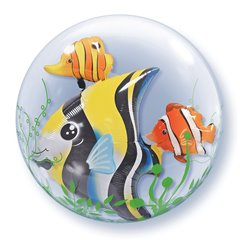 "Seaweed Tropical Fish Double Bubble Balloon - 24""/61cm, Qualatex 68809, 1 piece"