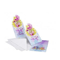 Barbie & Three Musketeers Invitation Cards, Amscan RM551638, Pack of 6 Pieces