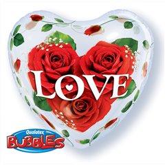 "Love Roses Bubble Balloon - 22""/56cm, Qualatex 33878, 1 piece"