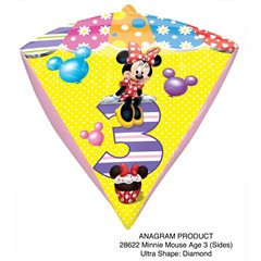 "Minnie Mouse Age 3 - Diamondz Foil Balloon - 15""x17"", Amscan 28621"