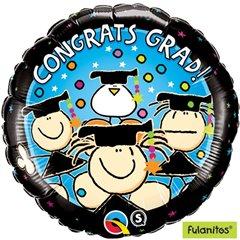 "Round Holographic Foil Balloon Congratulations Graduate Cap, Qualatex, 18"", 65454"