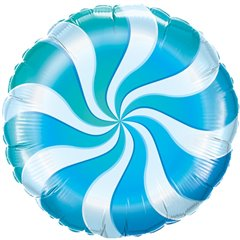 "Round Candy Swirl Blue Foil Balloon, Qualatex, 18"", 17362"