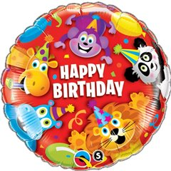 "Foil Balloon Happy Birthday Party Animals Design, Qualatex, 18"", 14182"