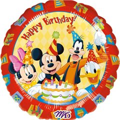 "Mickey and Friends Happy Birthday Foil Balloon - 18""/45cm, Amscan 09223"