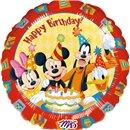 "Balon Folie 45 cm ""Happy Birthday"" cu Mickey si Prietenii, Amscan 09223"