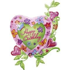 Foil Balloon Heart Shape Happy Birthday, Amscan, 125697