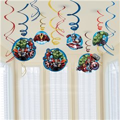 Avengers Swirl Decorations, Amscan 671354-55, Pack of 12 pieces