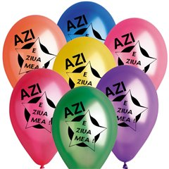 "Latex Balloons Printed with ""Azi e ziua mea"", Radar GMI.AZM"
