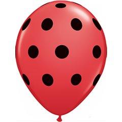 Baloane latex 5''/13cm rosii - Big Polka Dots, Qualatex 26153
