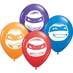 5'' Ninja Turtles Faces Assorted, Qualatex 13330, Pack of 100 pieces