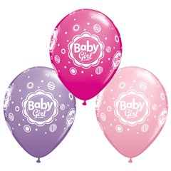 Baloane latex 11''/28cm - Baby Girl Dots, Qualatex 18507