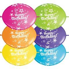 Baloane latex quicklink (cony) 12''/ 30cm - Happy Birthday, Qualatex 14259, 10 buc