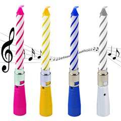 Candy Stripe Musical Birthday Candle - 12cm, Radar SMFIT.MF16.MUZ
