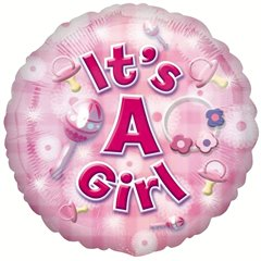 New Baby Girl Circle Foil Balloon, Amscan 2591801