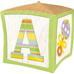 Balon folie cubez Green Baby Block - 38cm, Amscan 2838001