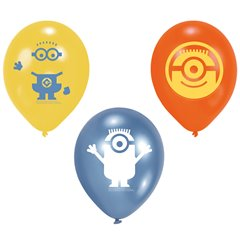 "9"" Single Sided Print Latex Balloons, Minions Assorted, Amscan 997981, Pack of 6 Pieces"