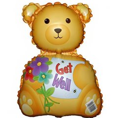 Balon folie mini figurina ursulet - Get Well, umflat + bat si rozeta, Amscan 10110