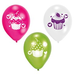 "9"" Cupcake Assorted Printed Latex Balloons, Amscan 997337, Pack of 6 pieces"