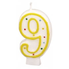 Polka Dots Birthday Candle Number 9, White & Yellow, Amscan RM550289