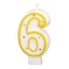 Polka Dots Birthday Candle Number 6, White & Yellow, Amscan RM550286