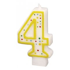 Polka Dots Birthday Candle Number 4, White & Yellow, Amscan RM550284