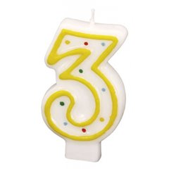 Lumanare aniversara Cifra 3 cu buline colorate, Alb & Galben, Amscan RM550283