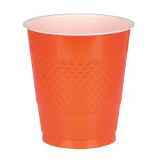 Pahare orange din plastic - 355 ml, Amscan 552287-05, Set 10 buc