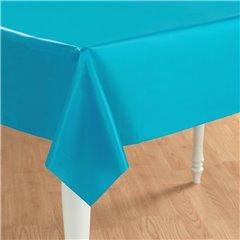 Caribbean Blue Plastic Table Cover, 137x274cm, Amscan 77015-54