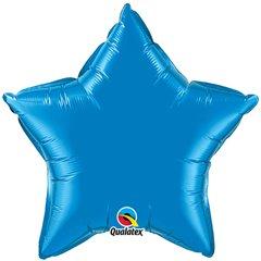 Balon Mini Folie Stea Albastra Dazller 10 cm, umflat + bat si rozeta, Qualatex 22849