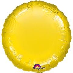 Balon mini folie rotund uni galben -18cm, umflat + bat si rozeta, Amscan AUNIGALB