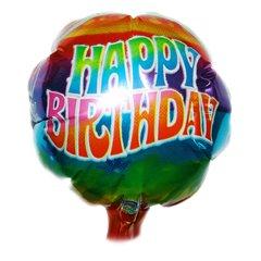 Balon mini folie 10cm Happy Birthday, umflat + bat si rozeta, Amscan 07878