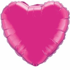 "Magenta Heart Microfoil Balloon - 9""/23cm, Qualatex 99342"