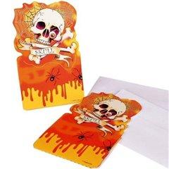 Invitatii de petrecere Halloween cu Craniu - 9x15cm, Amscan 552095, Set 6 buc