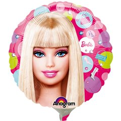 Balon mini folie Barbie 23cm, umflat + bat si rozeta, Amscan 1925609