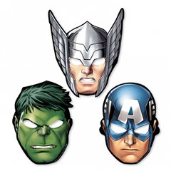 Avengers Paper Masks - Party Supplies, Amscan 360084-55, Pack of 8 Pieces