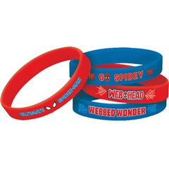 Spider-Man Rubber Bracelet Favors, Amscan 393313-55, Pack of 4 pieces