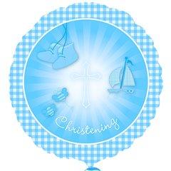 Christening Booties Blue - Standard HX Foil Balloon - 18''/45 cm, Amscan 2930701