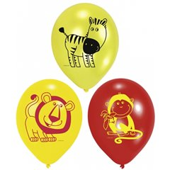 "10"" Printed Latex Balloons Safari Assorted, Amscan 450189, Pack of 6 pieces"