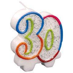 Lumanare aniversara pentru tort - 30 ani, Amscan 996454, 1 buc