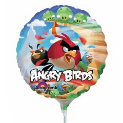 Balon mini folie Angry Birds - 23cm + bat si rozeta, Amscan 2481209