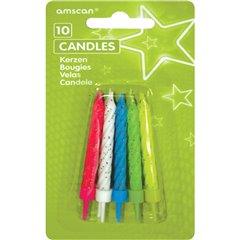 Lumanari pentru tort multicolore cu sclipici, Amscan INT17089-99, Set 10 buc
