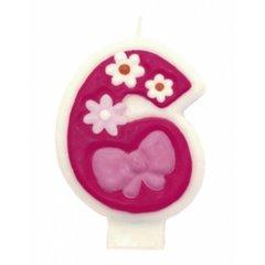 Lumanare aniversara Cifra 6 pentru tort cu floricele roz, Amscan 551746