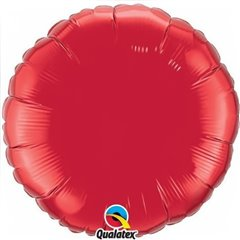Balon Mini Folie Rotund Uni Ruby Red 10 cm, umflat + bat si rozeta, Qualatex 22833