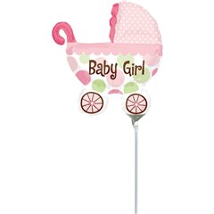 "Baby Buggy Girl Mini Shape Foil Balloon - 9""/23cm, Amscan 1807202"