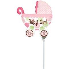 Balon mini figurina carucior Baby Girl 23cm, umflat + bat si rozeta, Amscan 1807202